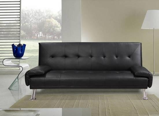 Divano letto sibilla 194x110x40 in ecopelle bianco o nero reclinabile 3 posti - Divano ecopelle nero ...