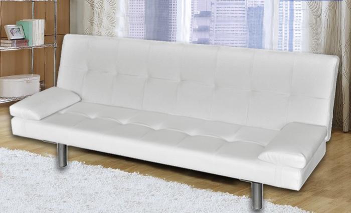Divano letto jenny 170x94x31 in ecopelle bianco o nero 3 posti con braccioli laterali - Divano bianco ecopelle ...