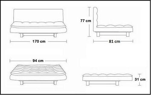 Divano letto jenny 170x94x31 in ecopelle bianco o nero 3 posti con braccioli laterali - Letto lago fluttua scheda tecnica ...