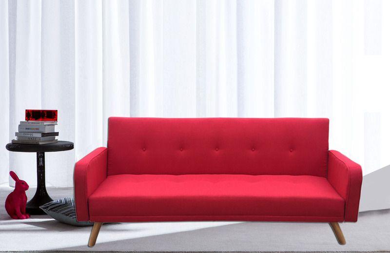 Divano letto rodrigo 210x82x88 microfibra ecopelle bianco nero rosso e grigio piedini in legno - Divano letto angolare rosso ...