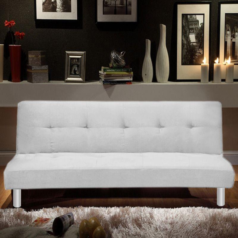 Divano letto reclinabile Veronica in microfibra cm 180 bianco o nero ...