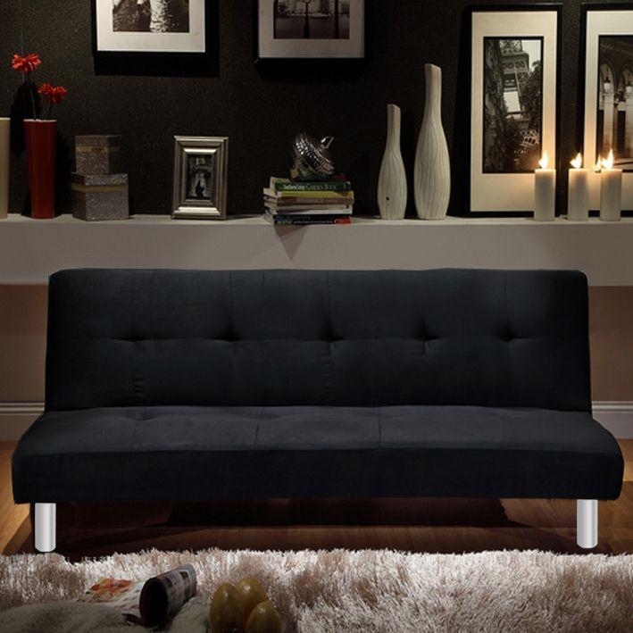 Divano letto reclinabile veronica in microfibra cm 180 bianco o nero sistema anti ribaltamento - Divano letto nero ...