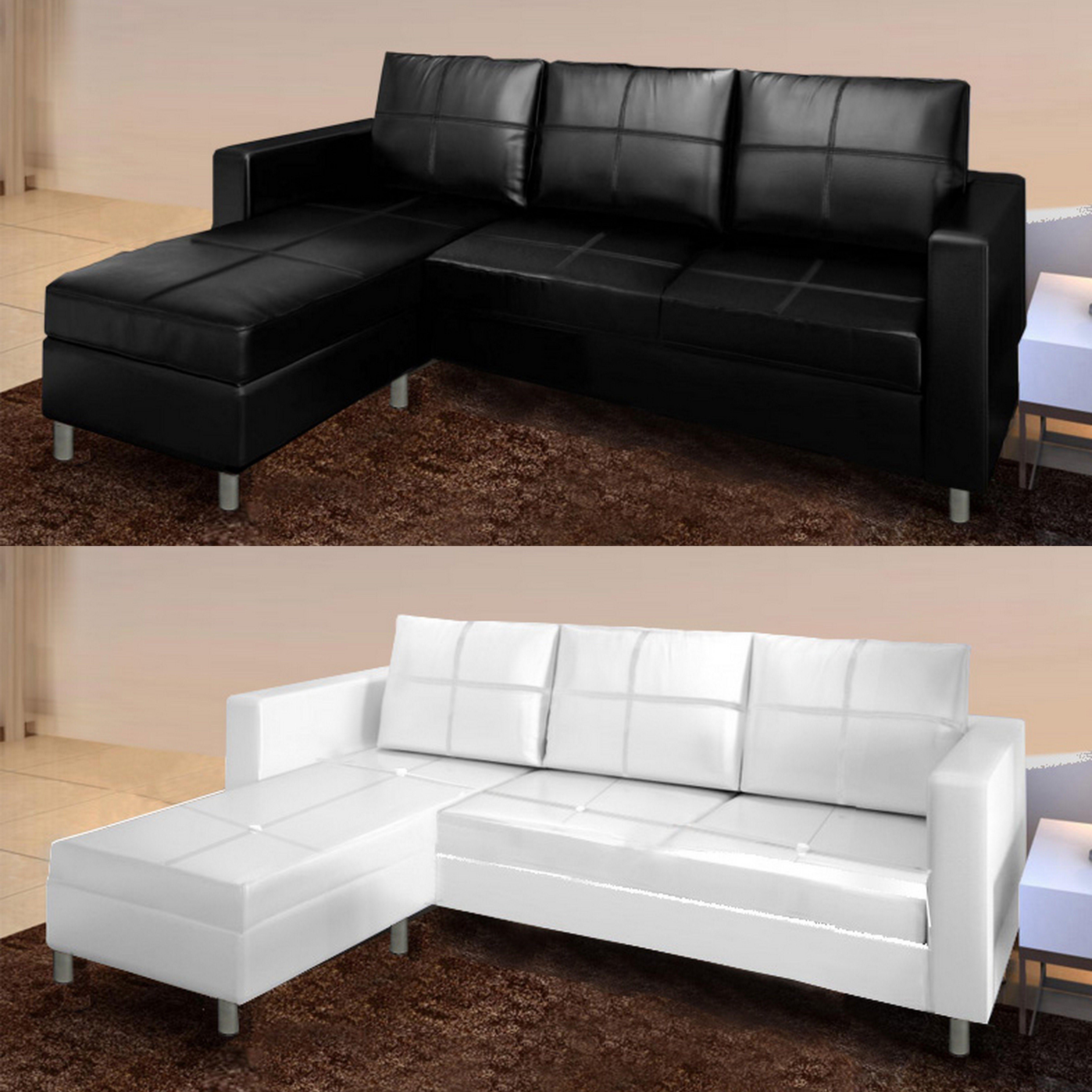 Divano angolare roma con pouf 205 cm ecopelle bianco nero 3 posti soggiorno letto - Divano bianco ecopelle ...