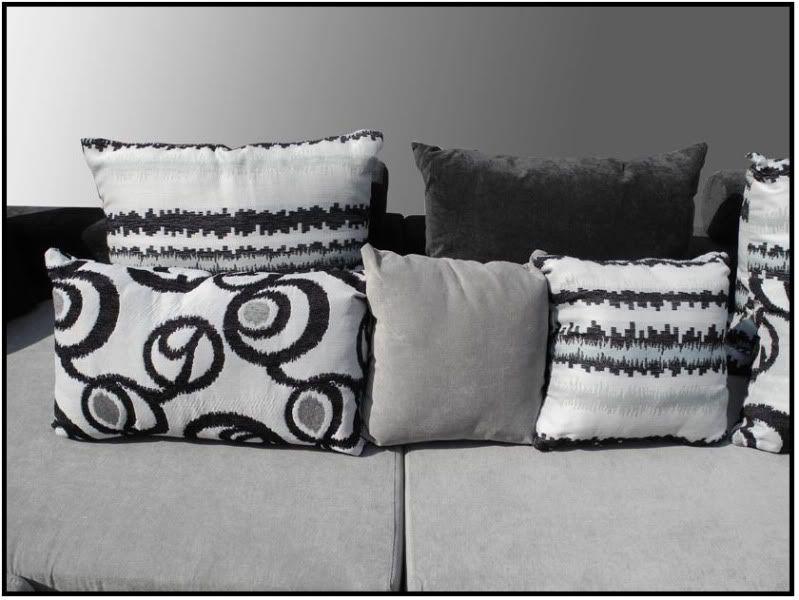 Divano soggiorno moderno amelia angolare 340cm bianco e grigio for Divano cuscini