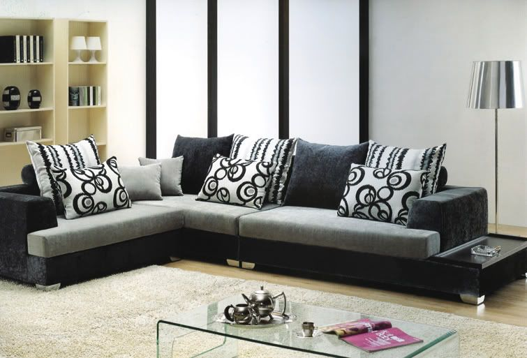 Divano soggiorno moderno Amelia angolare 340cm bianco e grigio