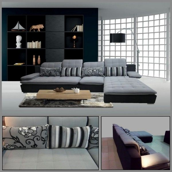 Dettagli su Divano soggiorno 300x180 angolare microfibra sfoderabile grigio  chiaro divani|12