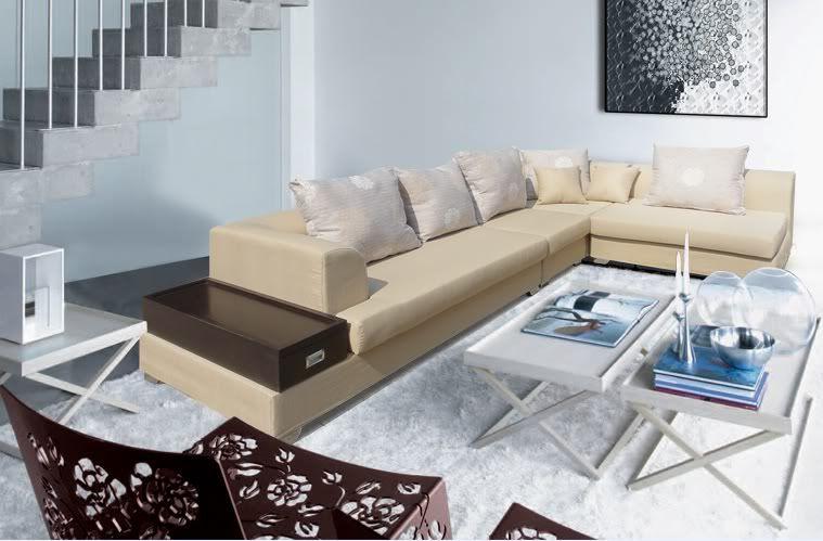 divano soggiorno magnolia 340cm arredamento moderno color sabbia ... - Soggiorno Angolare Componibile 2