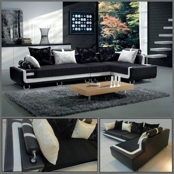 Divano soggiorno 350 cm angolare nero bordo bianco cuscini for Soggiorno living