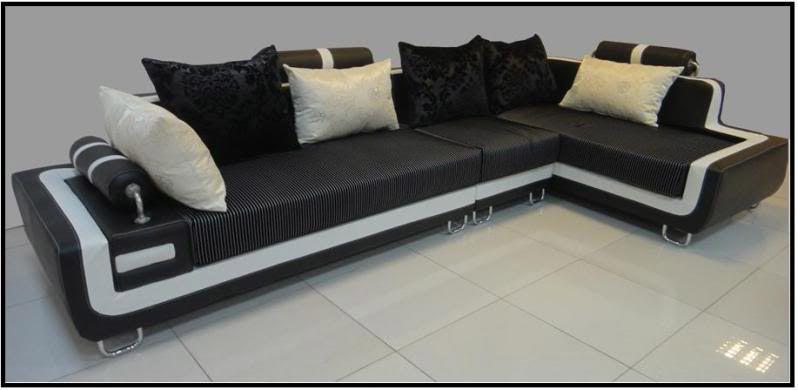 Divano soggiorno dafne 350cm angolare bianco e nero cuscineria inclusa sfoderabile - Soggiorno bianco e nero ...