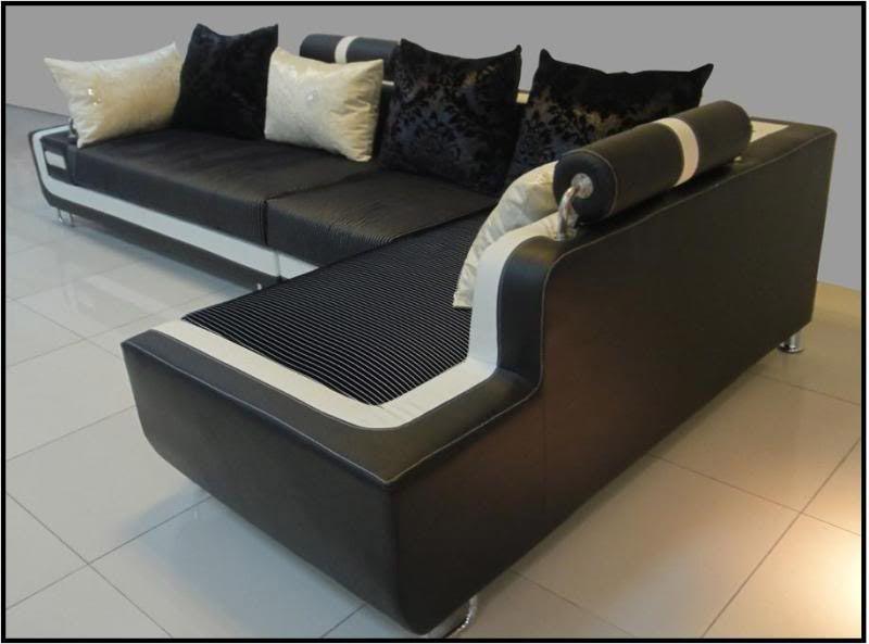 Divano soggiorno Dafne 350cm angolare bianco e nero cuscineria ...