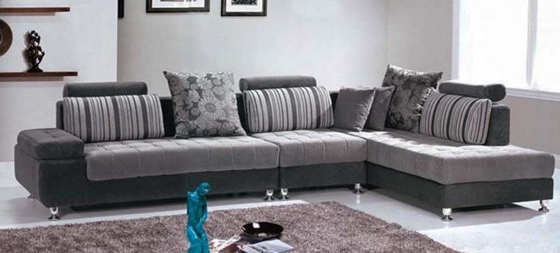 Divano mimosa 332 cm angolare con chaise longue soggiorno moderno - Divano angolare grigio ...