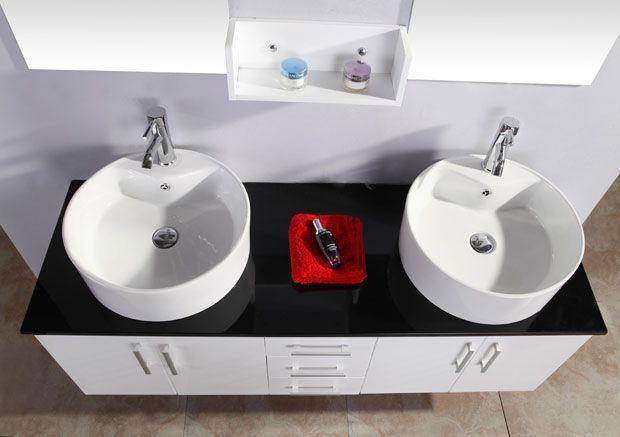 mobile bagno diana 150 cm doppio lavabo laccato bianco cristallo nero