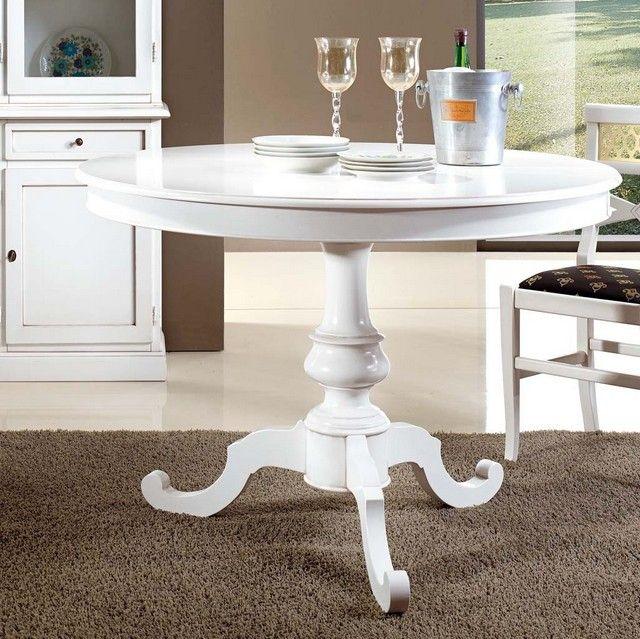 Tavolo vivian rotondo colore bianco opaco diametro 100 o 120 cm disponibile anche con sedie - Dimensioni tavolo tondo 4 persone ...