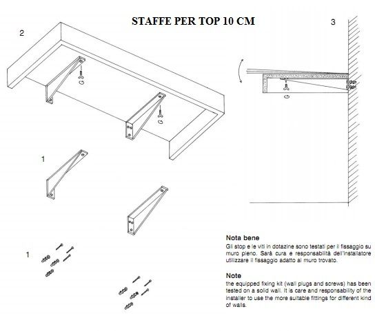 Piano mensola per lavabo d 39 appoggio in legno in vari colori mf for Staffe per mensole