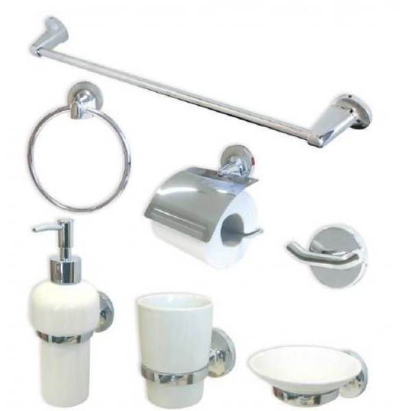 Kit 7 pezzi accessori cromati con ceramica for Accessori bagno in ceramica