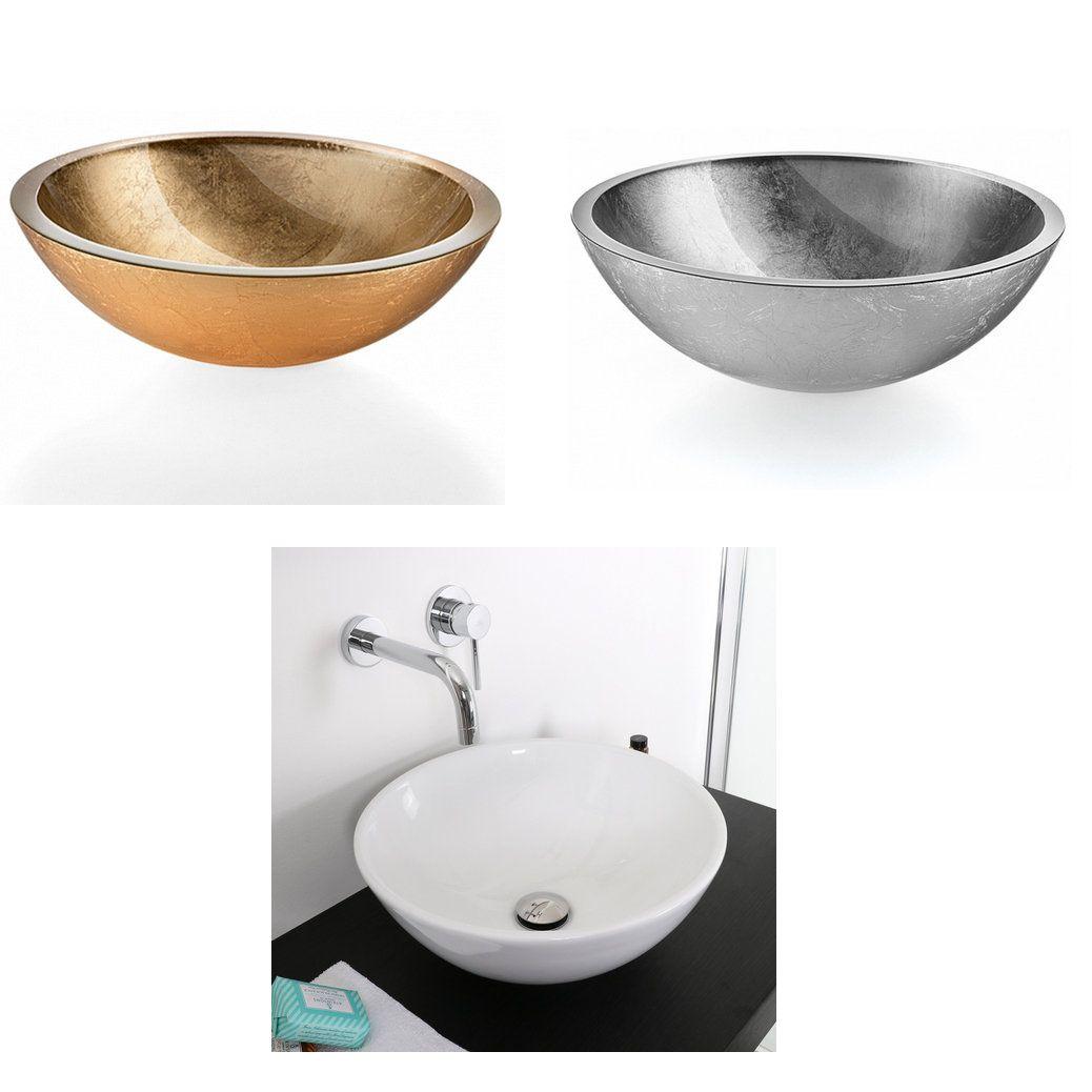 Lavabo da appoggio bacinella 42x16 42x14 31x11 foglio oro argento ceramica - Lavandino bagno vetro ...