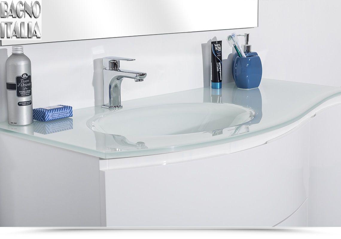 mobile bagno asia3 110 cm con lavabo in cristallo decentrato in diversi colori. Black Bedroom Furniture Sets. Home Design Ideas