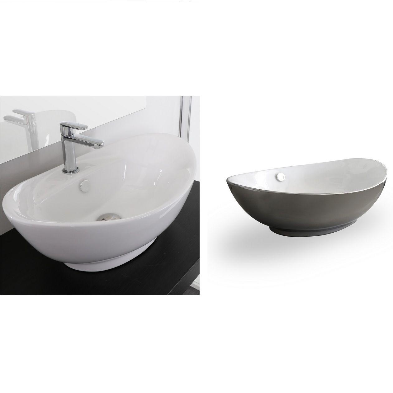 lavabo da appoggio ovale 59x39 60x37 in ceramica bianco o argento modello maria. Black Bedroom Furniture Sets. Home Design Ideas