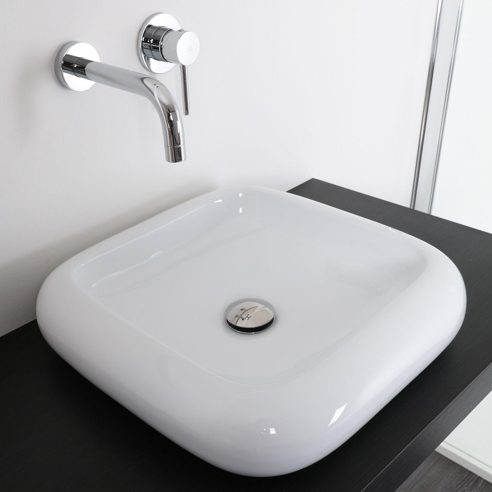 lavabo da appoggio stondato 46 cm in ceramica bianco modello sara. Black Bedroom Furniture Sets. Home Design Ideas