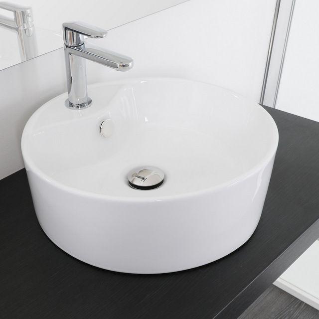 lavabo da appoggio tondo a bacinella da 40x14 46x14 51x42 cm ceramica. Black Bedroom Furniture Sets. Home Design Ideas
