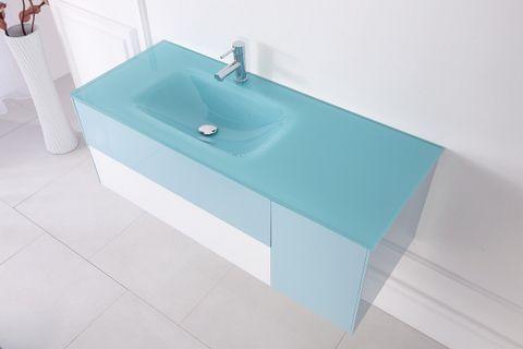 Mobile da bagno bcolour cm 120 con lavabo in vetro decentrato con cassetti e ante - Mobili bagno in vetro ...