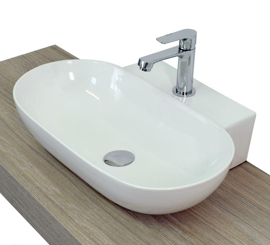 Lavabo da appoggio a goccia ovale squadrato in ceramica bianco modello lav03 - Scarico lavandino bagno ...
