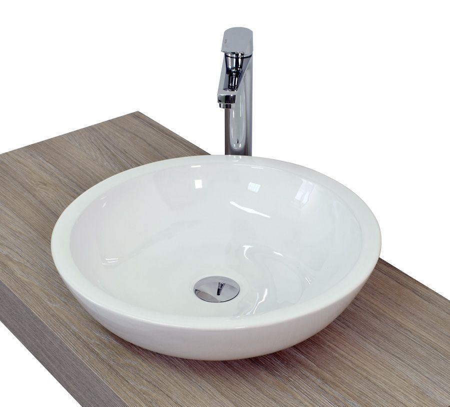 Lavabo da appoggio rotondo alto basso quadrato in ceramica bianca lucida in 3 modelli md