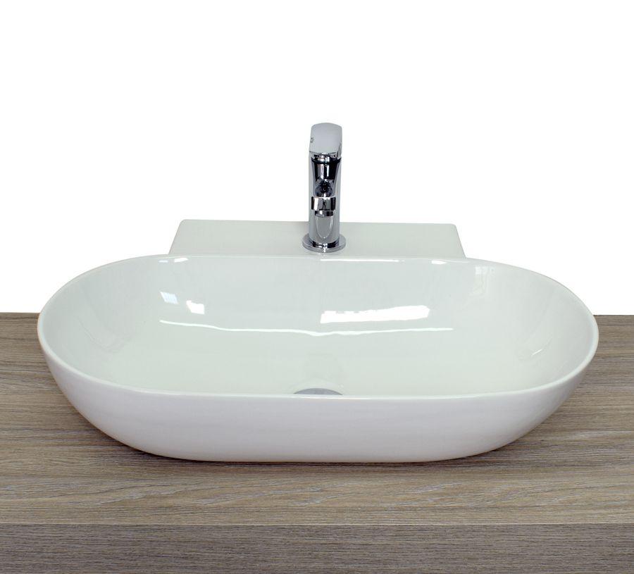 Lavabo da appoggio a goccia ovale squadrato in ceramica for Lavabo da appoggio