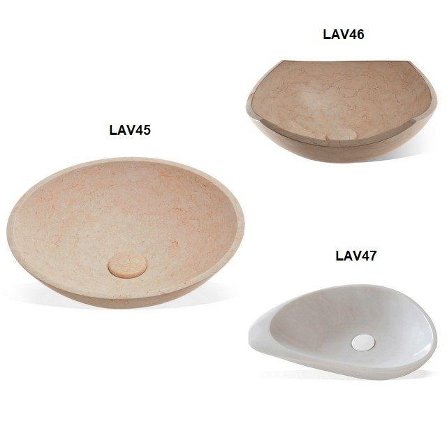 Lavabo da appoggio serie tonda in marmo effetto pietra in for Lavabo da appoggio misure