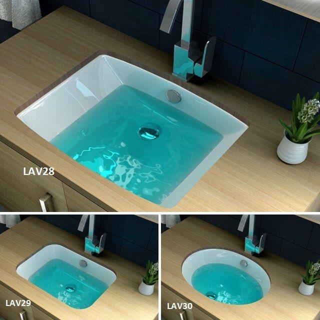 Lavabo da incasso in ceramica bianco modelli lav28 lav29 lav30 in diverse misure e forme - Lavandini bagno da incasso ...