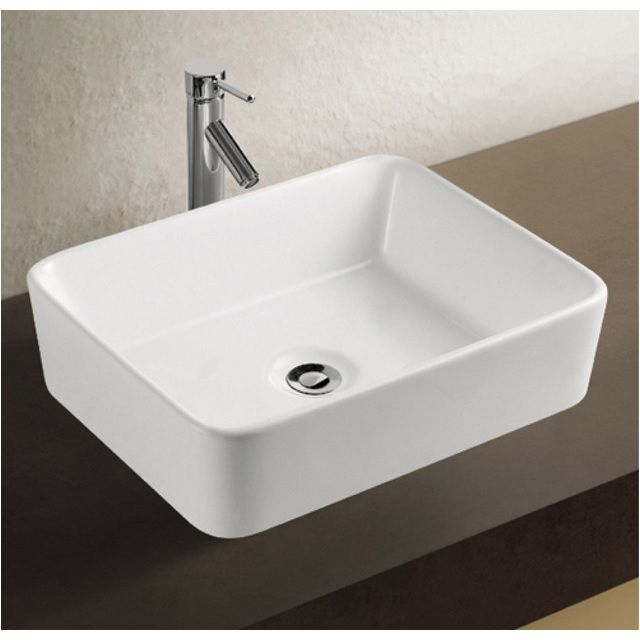 Lavabo eveline quadrato smussato 48x37x13 in ceramica bianco - Lavello bagno appoggio ...