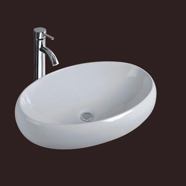 Lavabi da appoggio misure 60x41x14 5 ceramica bianco for Lavabo da appoggio misure