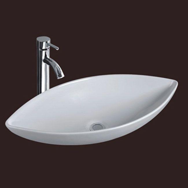 Lavabo da appoggio in ceramica a goccia misure 70x37x14 md for Lavabo da appoggio