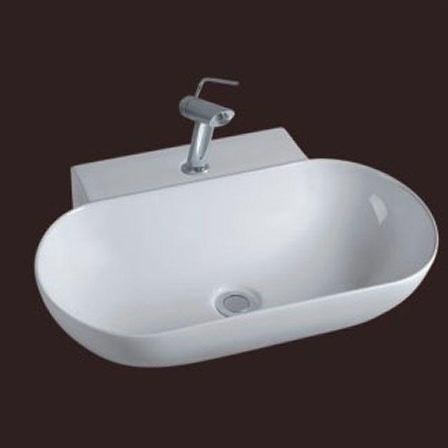 Lavabo da appoggio 56x40 ceramica predisposizione rubinetto md for Lavabo da appoggio misure