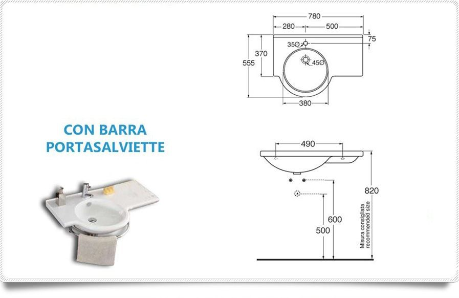 lavabo sospeso moon asimmetrico : Lavabo sospeso Asimetrico cm 70 Ceramica Althea df