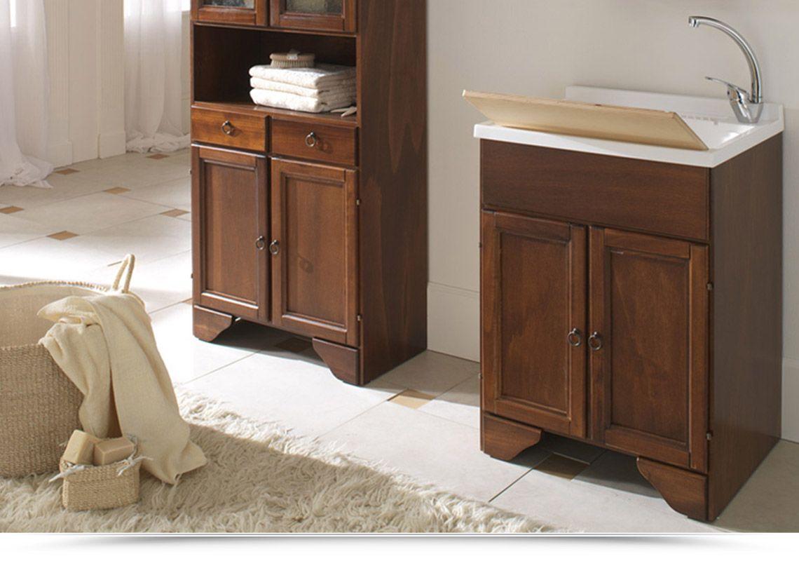 Lavatoio lavapanni arte povera in legno noce 45x50 60x50 a 1 o 2 ante