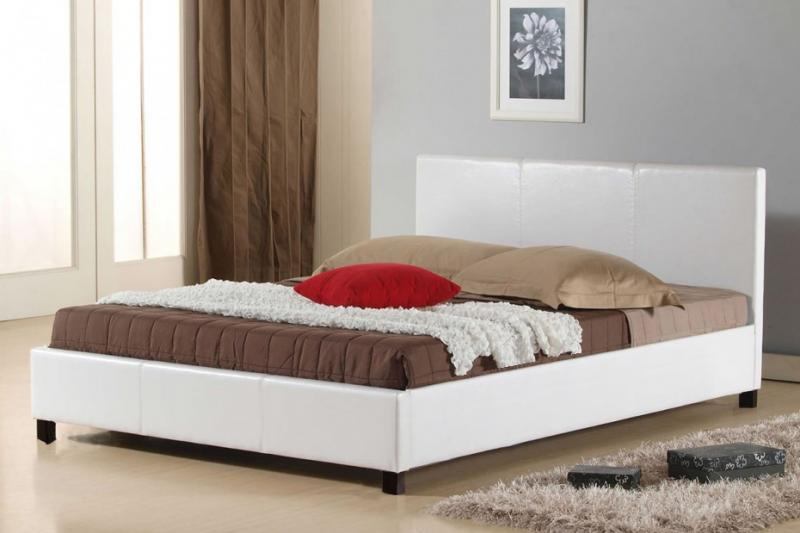 Letto due piazze peonia in ecopelle trapuntata bianco o - Letto in ecopelle bianco ...