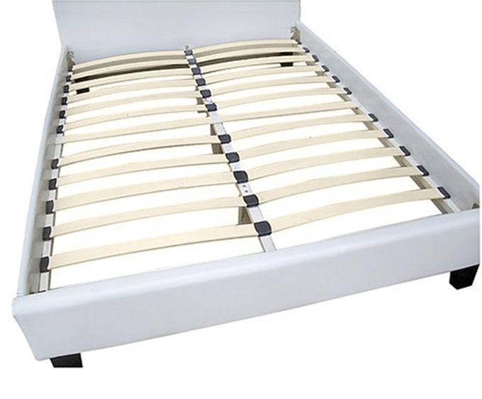 Letto matrimoniale ecopelle bianco 216x166 cm o nero - Rivestimento letto ecopelle ...