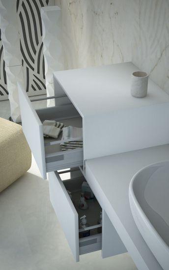 Mensola da 60 90 120 per arredo bagno con cassettiera for Dettagli d arredo