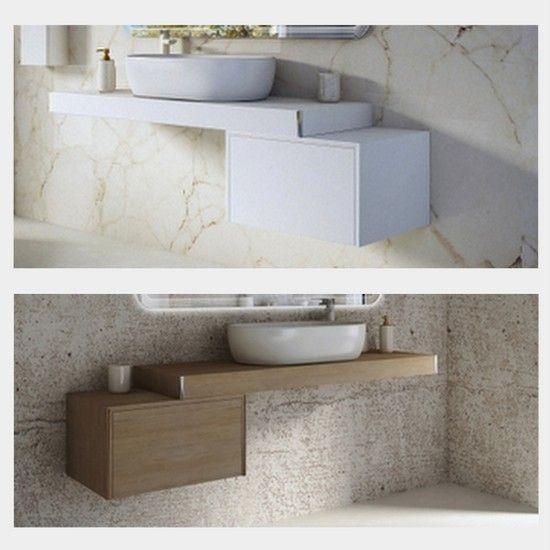 Mensola da 60 90 120 per arredo bagno con cassettiera for Mensola lavabo