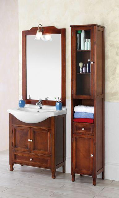 Arredo bagno mobile arte povera cm 75 in massello noce br for Arredo bagno arte povera prezzi