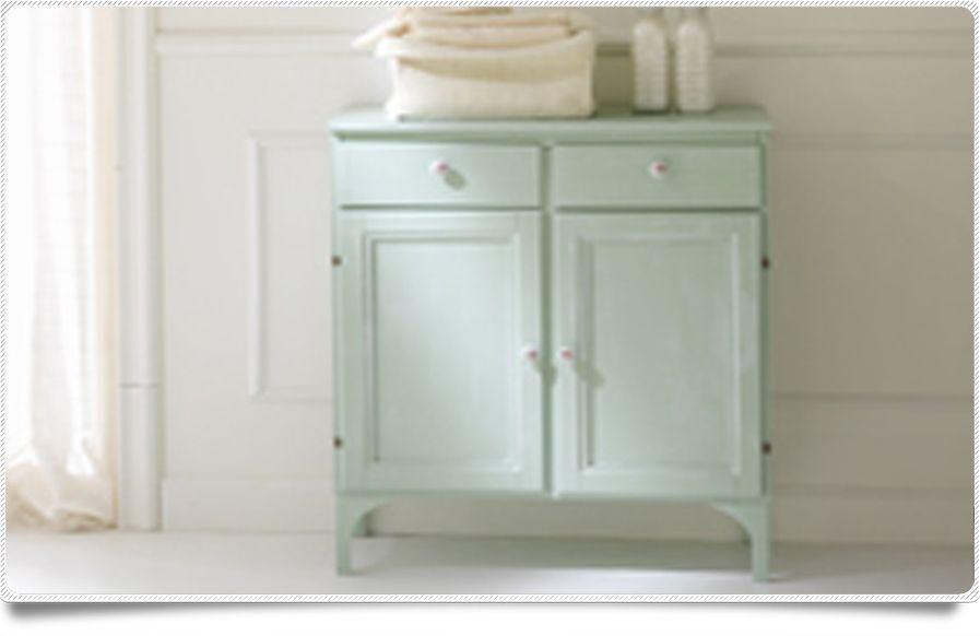 Mobiletto arredo complemento 66x34 arte povera decap 2 ante 2 cassetti nei colori bianco verde - Mobiletti per bagno shabby ...