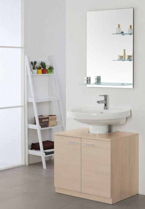Mobile copricolonna sottolavabo rovereto cm 70 bianco for Maniglie mobili bagno