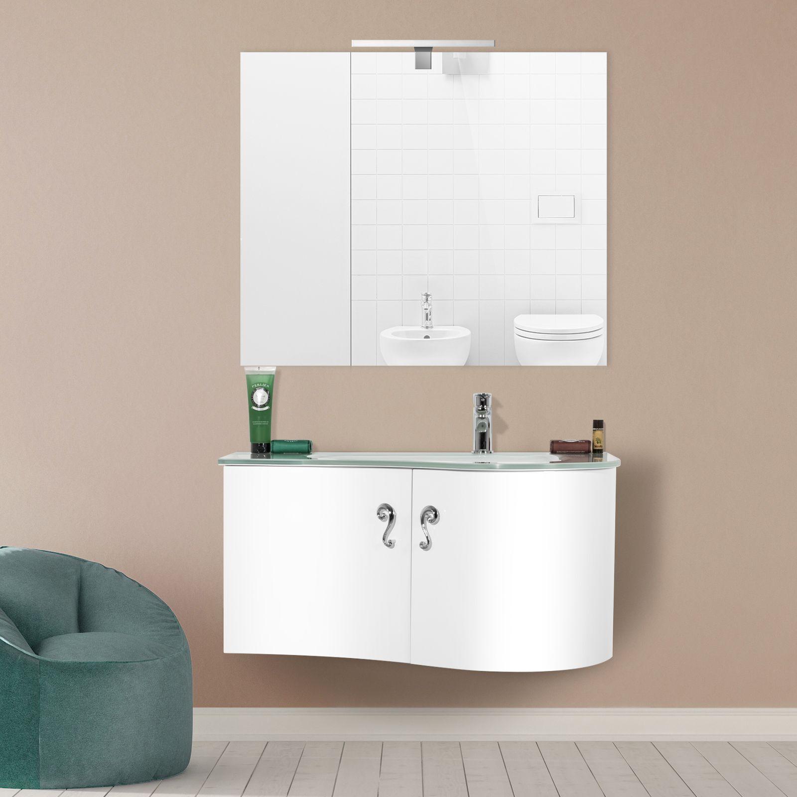 Arredobagno asia 2 cm 90 o 110 con lavabo in cristallo - Bagno largo 110 cm ...