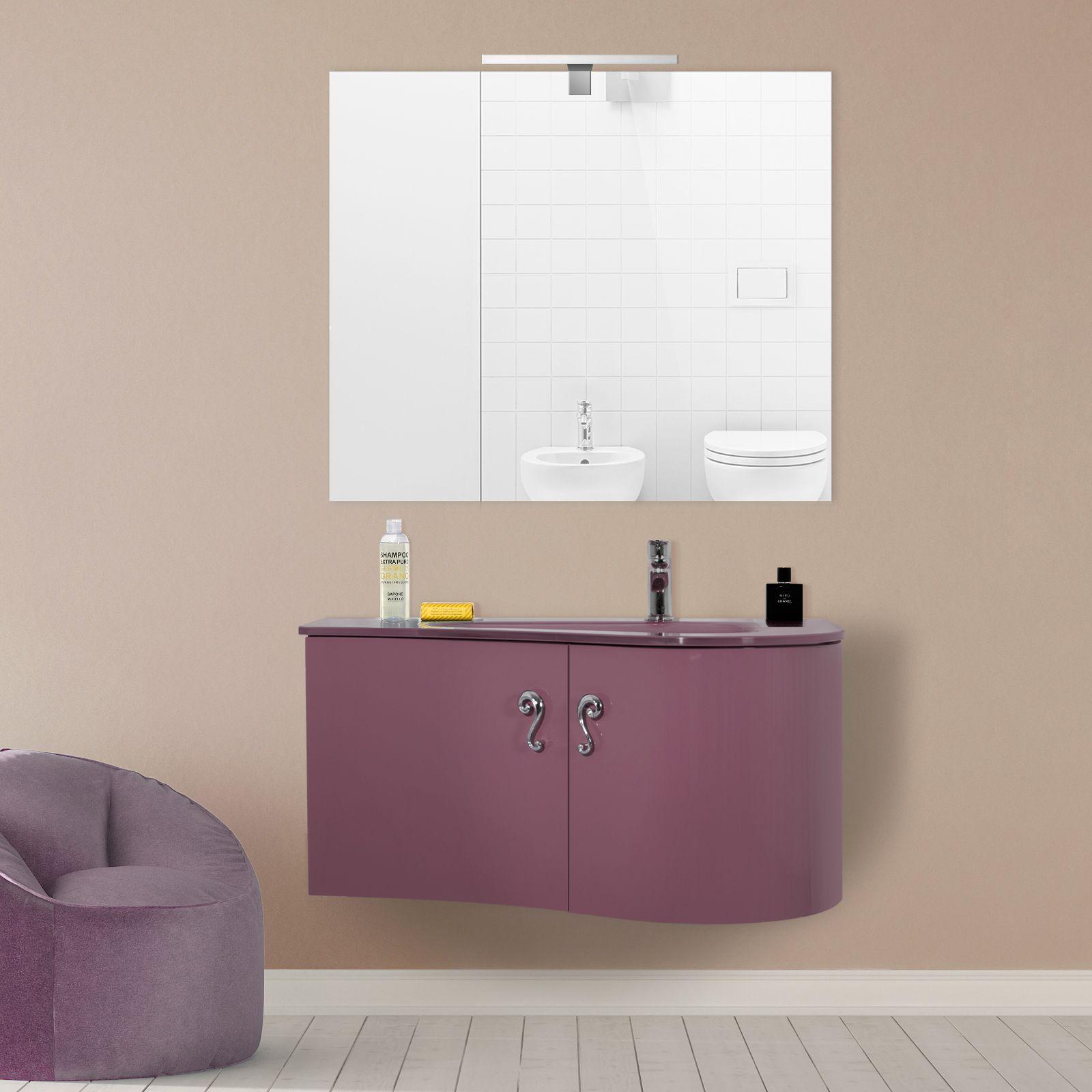 Arredobagno asia 2 cm 90 o 110 con lavabo in cristallo for Maniglie mobili bagno