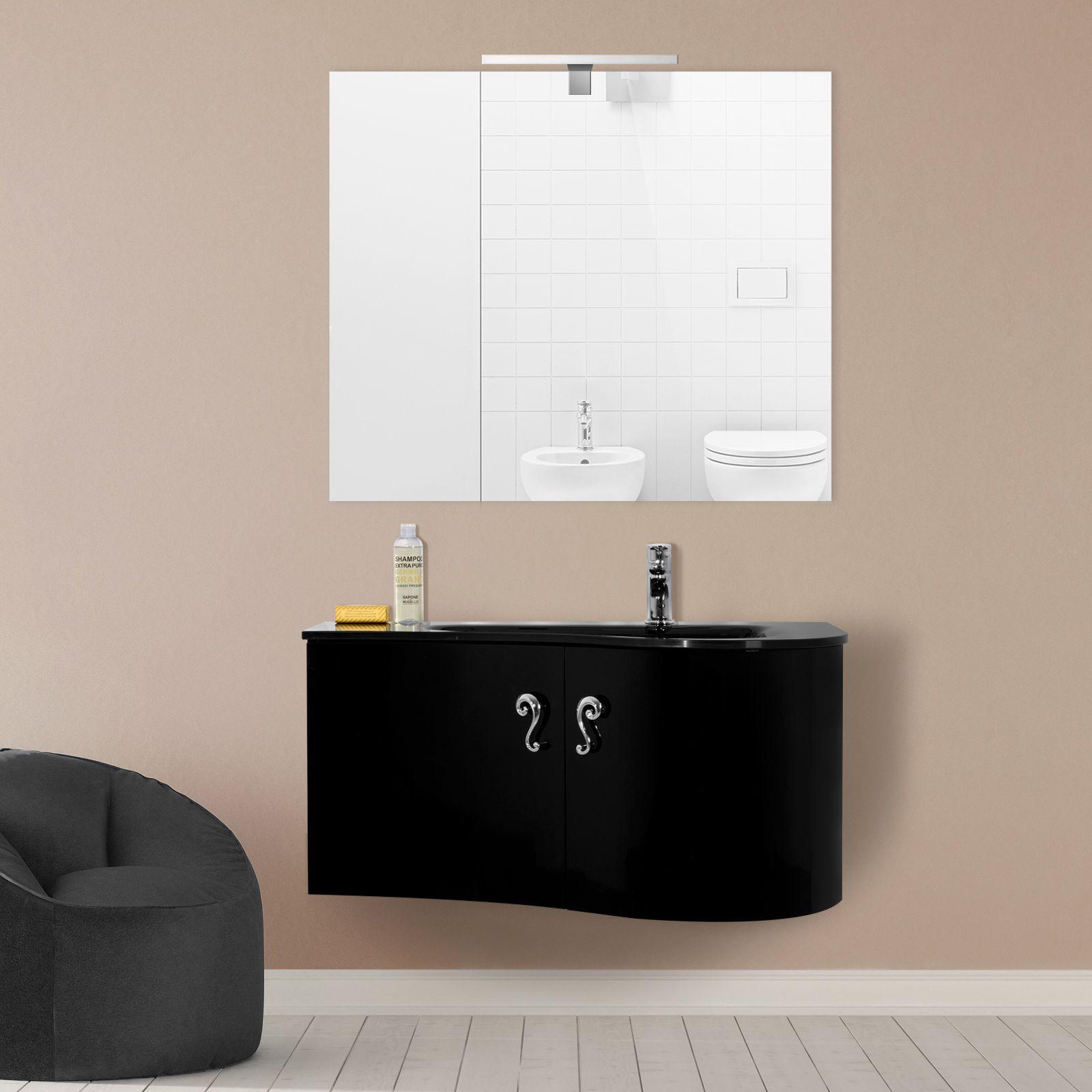 mobile arredo bagno 90 cm lavabo cristallo decentrato in 7 colori mdf go ebay. Black Bedroom Furniture Sets. Home Design Ideas