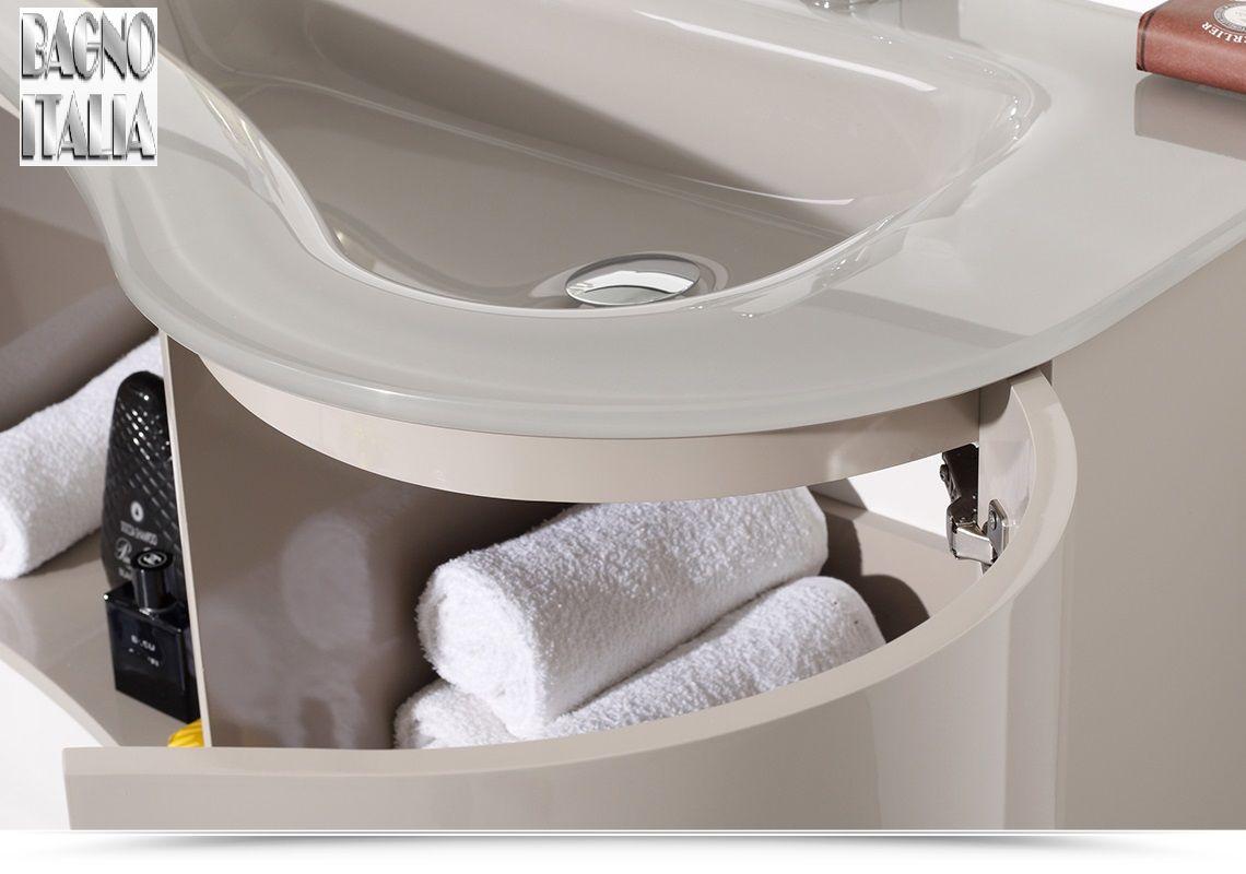 Arredobagno asia 2 cm 90 o 110 con lavabo in cristallo for Mobili bagno lavabo grande