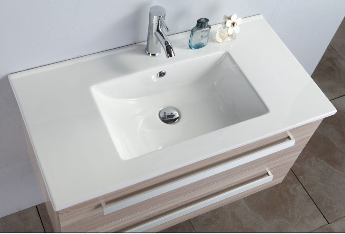 Mobile bagno sigma cm 90 rovere chiaro con miscelatore offerta del mese - Mobile bagno stondato ...