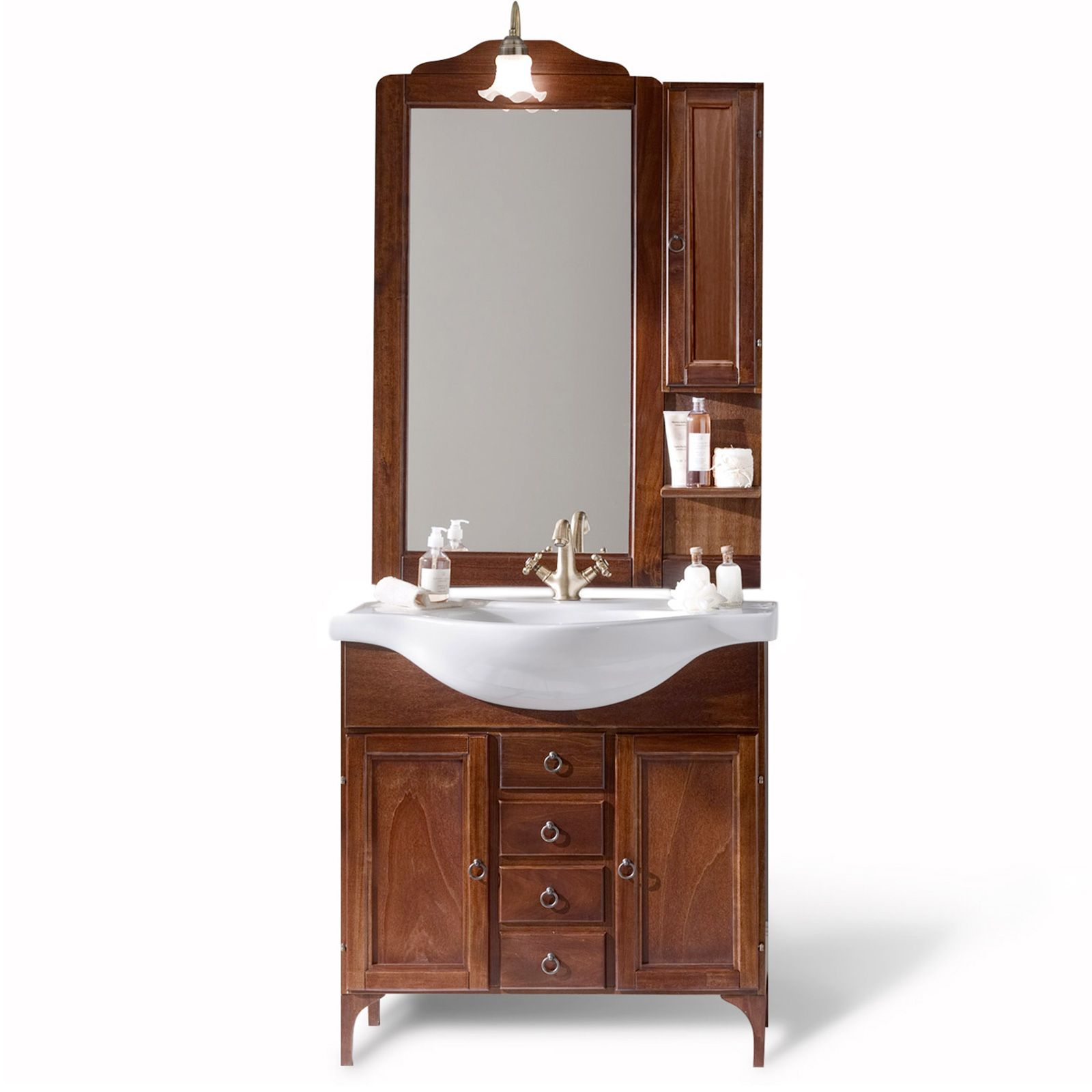 Mobile arredo da bagno arte povera cm 85 modello - Specchiera bagno legno ...