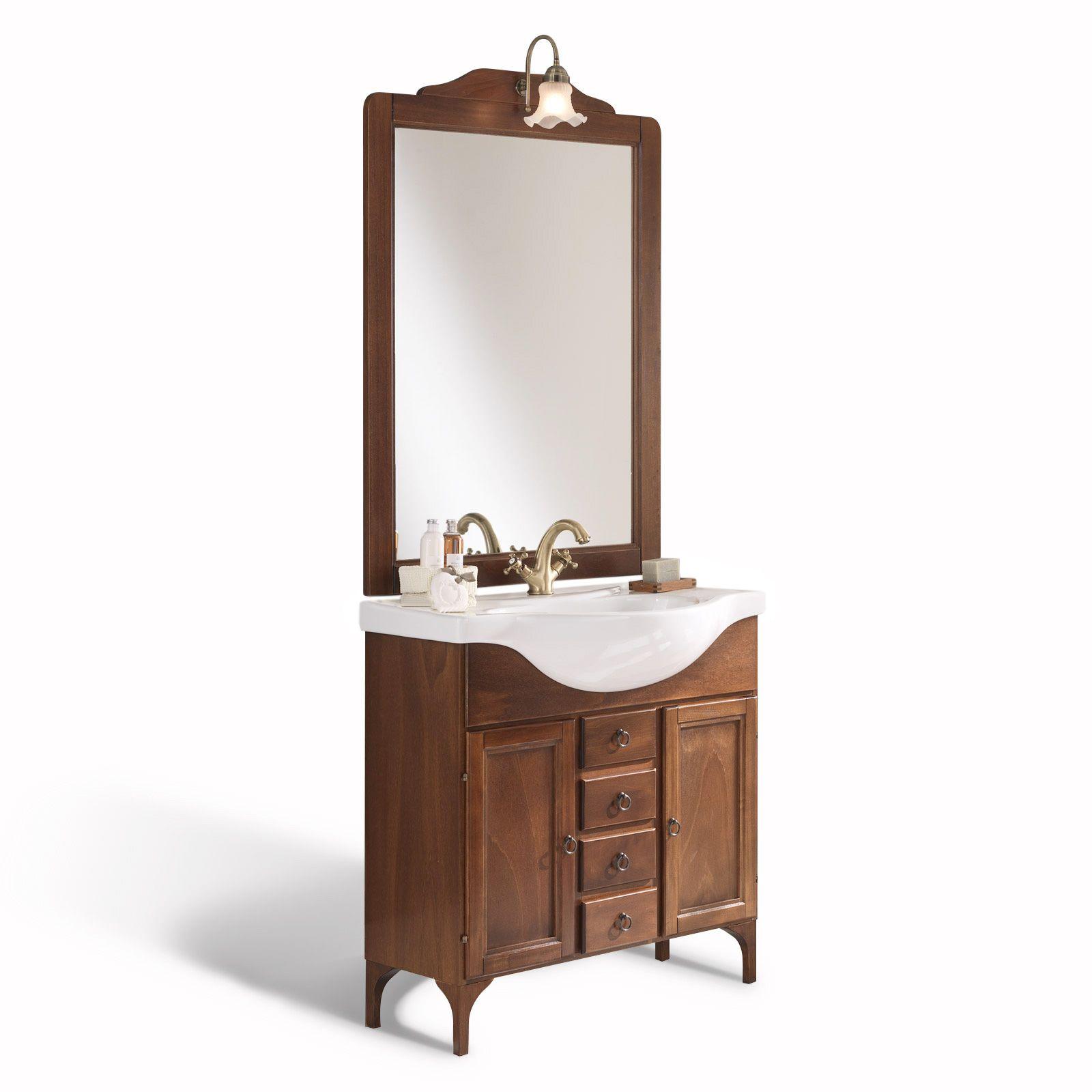 Mobile arredo da bagno arte povera cm 85 modello alessandria in legno massello con specchiera - Applique per specchio bagno classico ...